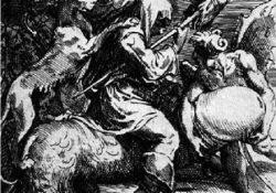 Parmigianino, Hexe, einen Phallus reitend (1530)